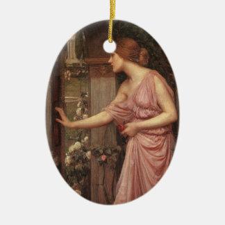 El jardín del Cupid que entra de la psique Adorno Ovalado De Cerámica