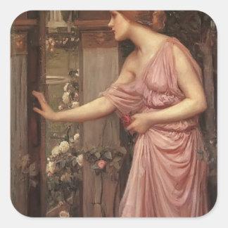 El jardín del Cupid que entra de la psique del wat Pegatina Cuadradas Personalizadas