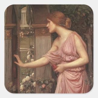 El jardín del Cupid que entra de la psique del wat Pegatina Cuadradas Personalizada