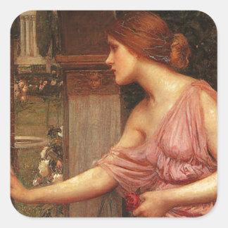 El jardín del Cupid que entra de la psique por el Calcomania Cuadradas Personalizada