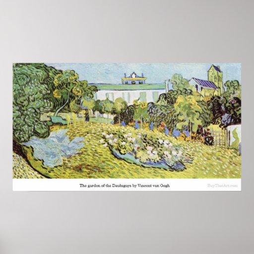 El jardín del Daubignys de Vincent van Gogh Póster