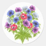 El jardín del de Caen de la anémona florece al Pegatinas Redondas
