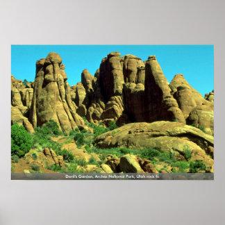 El jardín del diablo, arcos parque nacional, roca  poster