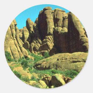 El jardín del diablo, arcos parque nacional, roca pegatina redonda