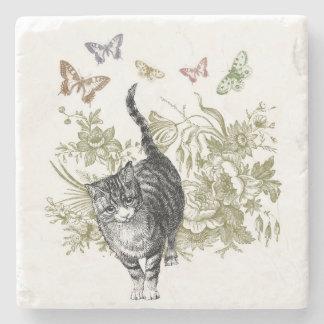 El jardín del gatito posavasos de piedra