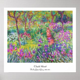 El jardín del iris en Giverny Claude Monet fresco, Póster