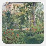 El jardín en Bellevue, 1880 Calcomanías Cuadradass Personalizadas