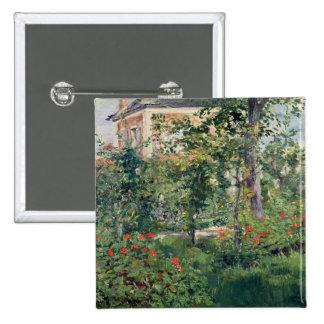 El jardín en Bellevue, 1880 Pin Cuadrado