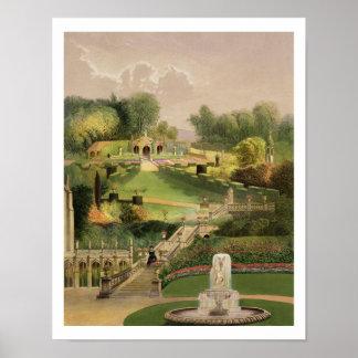 El jardín en el lado de la colina, castillo Combe, Póster