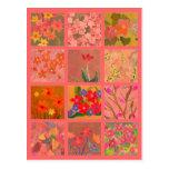 El jardín florece arte miniatura en el rosa corali postales