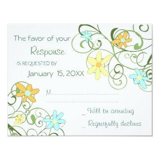 """El jardín florece casando la tarjeta de RSVP Invitación 4.25"""" X 5.5"""""""