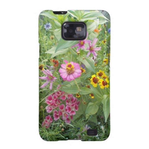 El jardín florece como margarita, zinnia, amapola, galaxy SII funda