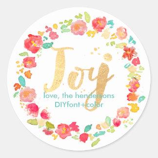 El jardín/la acuarela floral de los sophie de pegatina redonda