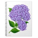 El jardín púrpura del Hydrangea florece el Libro De Apuntes Con Espiral