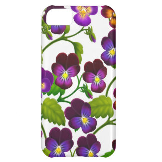 El jardín púrpura del pensamiento florece la caja  funda para iPhone 5C