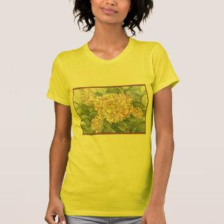 El jardín rayado de la camelia florece la pintura camisetas