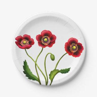 El jardín rojo de la amapola florece las placas de plato de papel de 7 pulgadas