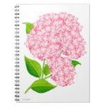 El jardín rosado del Hydrangea florece el cuaderno