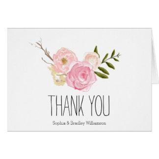 El jardín rosado romántico de la acuarela floral tarjeta pequeña