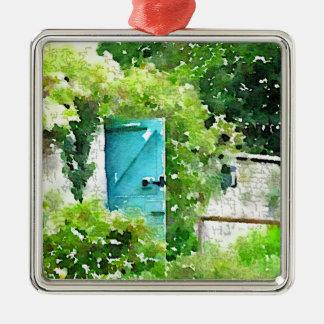 El jardín secreto adorno cuadrado plateado