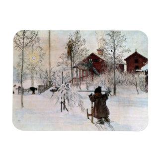El jardín y la casa del lavado en la nieve imán foto rectangular