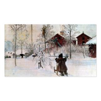 El jardín y la casa del lavado en la nieve tarjetas de visita