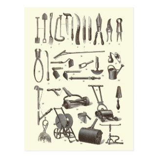 El jardinero elegante - utensilios de jardinería tarjetas postales
