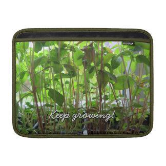 El jardinero guarda el crecer de las plantas fundas para macbook air
