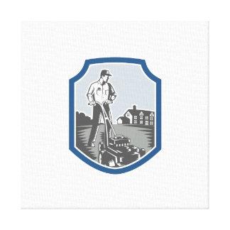 El jardinero siega el escudo del grabar en madera  impresión en lona estirada