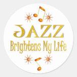 El jazz aclara mi vida pegatina redonda