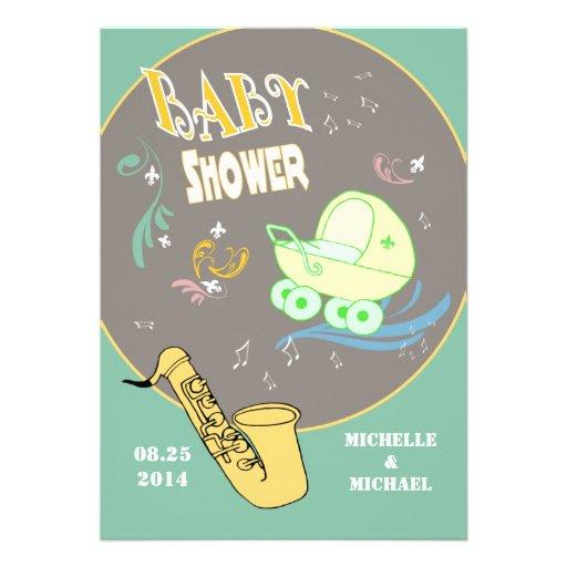 El jazz retro junta la fiesta de bienvenida al beb anuncios personalizados