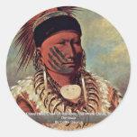 El jefe blanco de la cabeza de la nube del Iowa Etiquetas Redondas