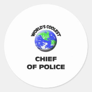 El jefe de policía más fresco del mundo etiquetas redondas