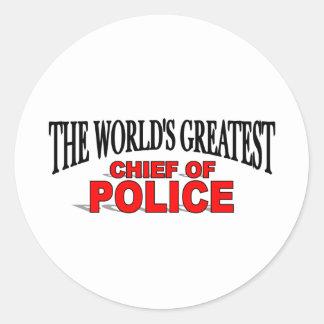 El jefe de policía más grande del mundo pegatina redonda