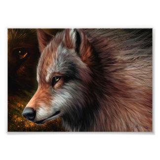 El jefe de una pintura del lobo fotografías