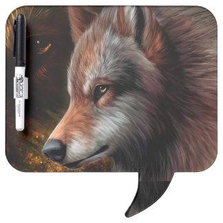 El jefe de una pintura del lobo pizarras blancas