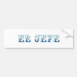 El Jefe logo Floreado blue azul Bumper Sticker