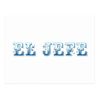 El Jefe logo Floreado blue azul Postcard