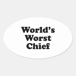El jefe peor del mundo calcomanía óval personalizadas