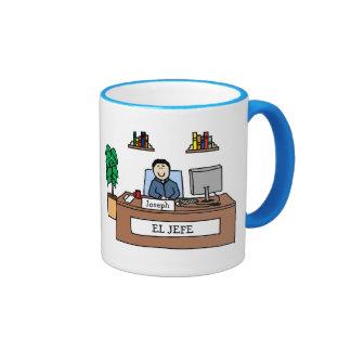 EL Jefe - taza personalizada del dibujo animado