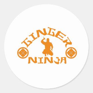 El jengibre Ninja Etiquetas Redondas