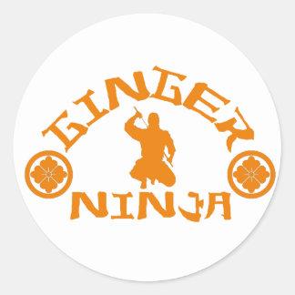 El jengibre Ninja Etiqueta Redonda