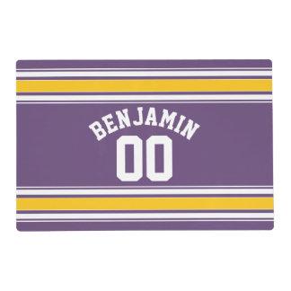 El jersey amarillo púrpura raya número conocido de tapete individual
