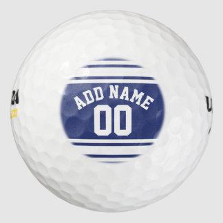 El jersey azul y blanco raya número conocido de pack de pelotas de golf