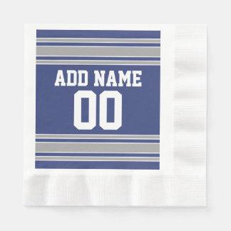 El jersey azul y de plata raya número conocido de servilleta desechable