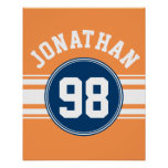 El jersey de los deportes azul y el naranja raya poster