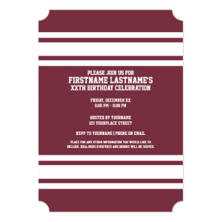 El jersey marrón y blanco raya número conocido de invitación 12,7 x 17,8 cm