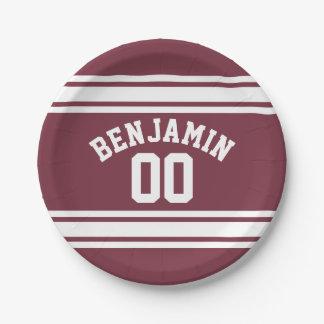 El jersey marrón y blanco raya número conocido de plato de papel 17,78 cm