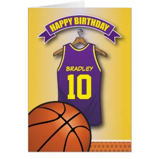 El jersey púrpura del baloncesto se divierte tarjeta de felicitación
