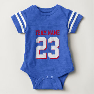 El jersey real del fútbol del bebé del rojo azul